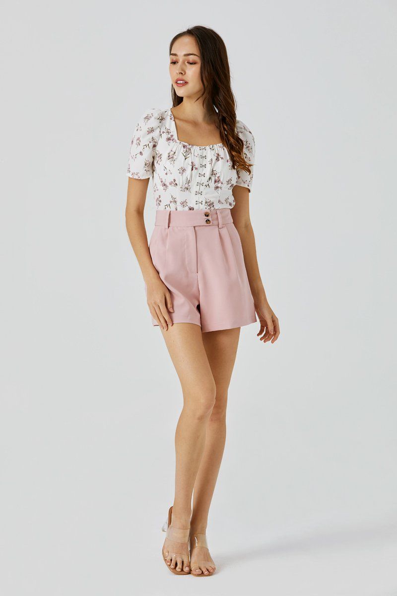 Callen Button Tailored Shorts Blush