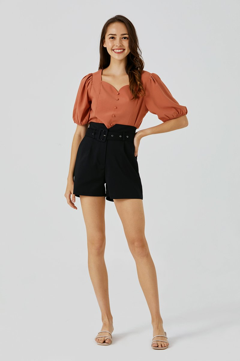 Shawna Belted Cut-Out Shorts Black