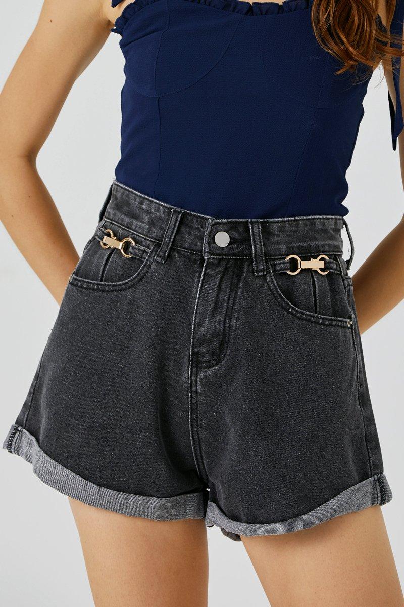 Jaime High Waist Denim Shorts Black