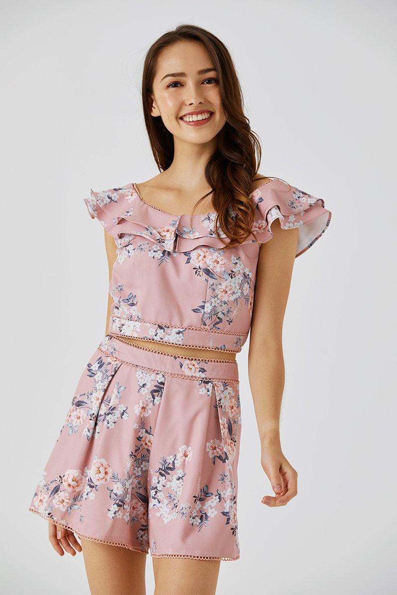 Amoura Ruffle Sleeve Top Blush