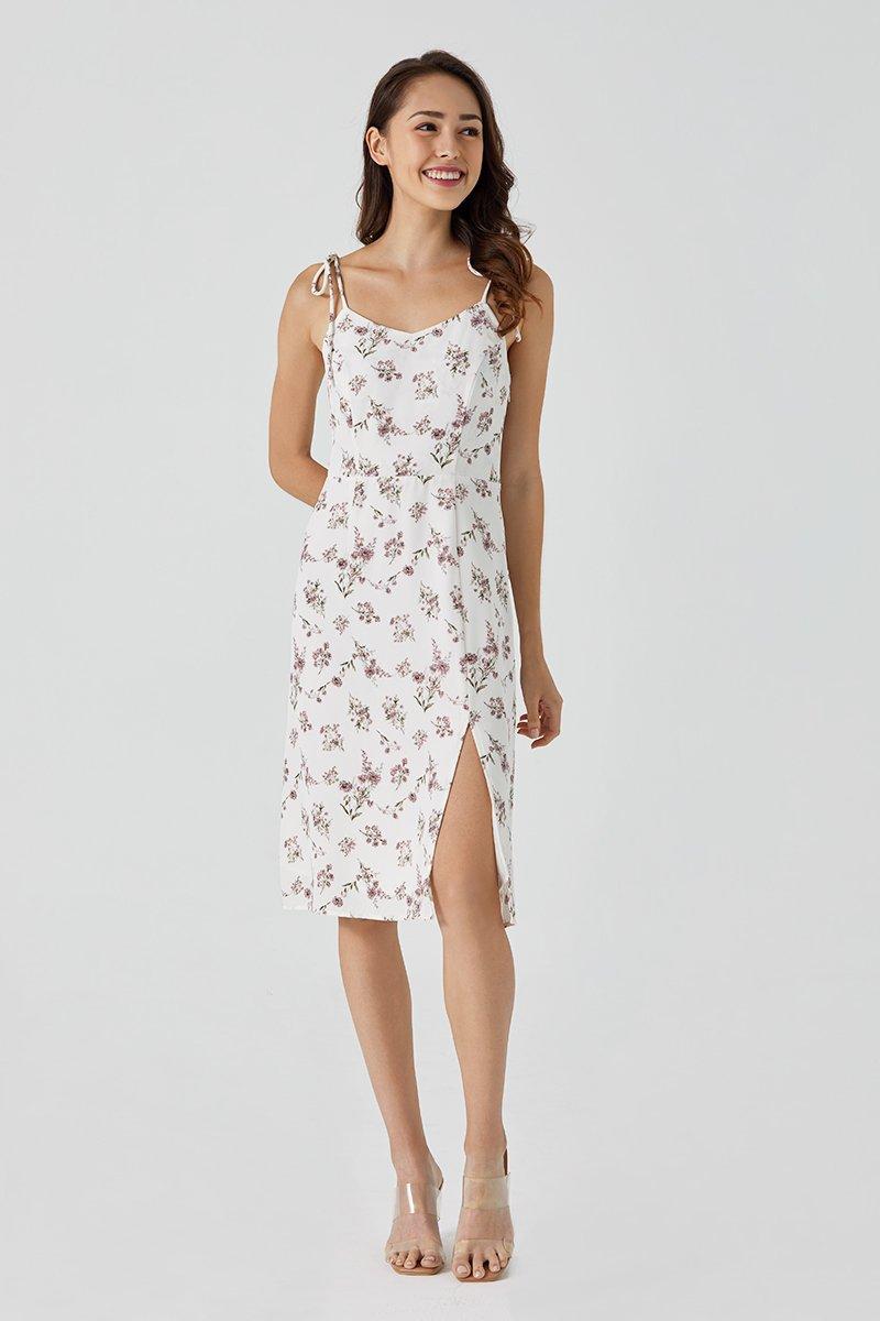 Britt Midi Floral Dress Ivory