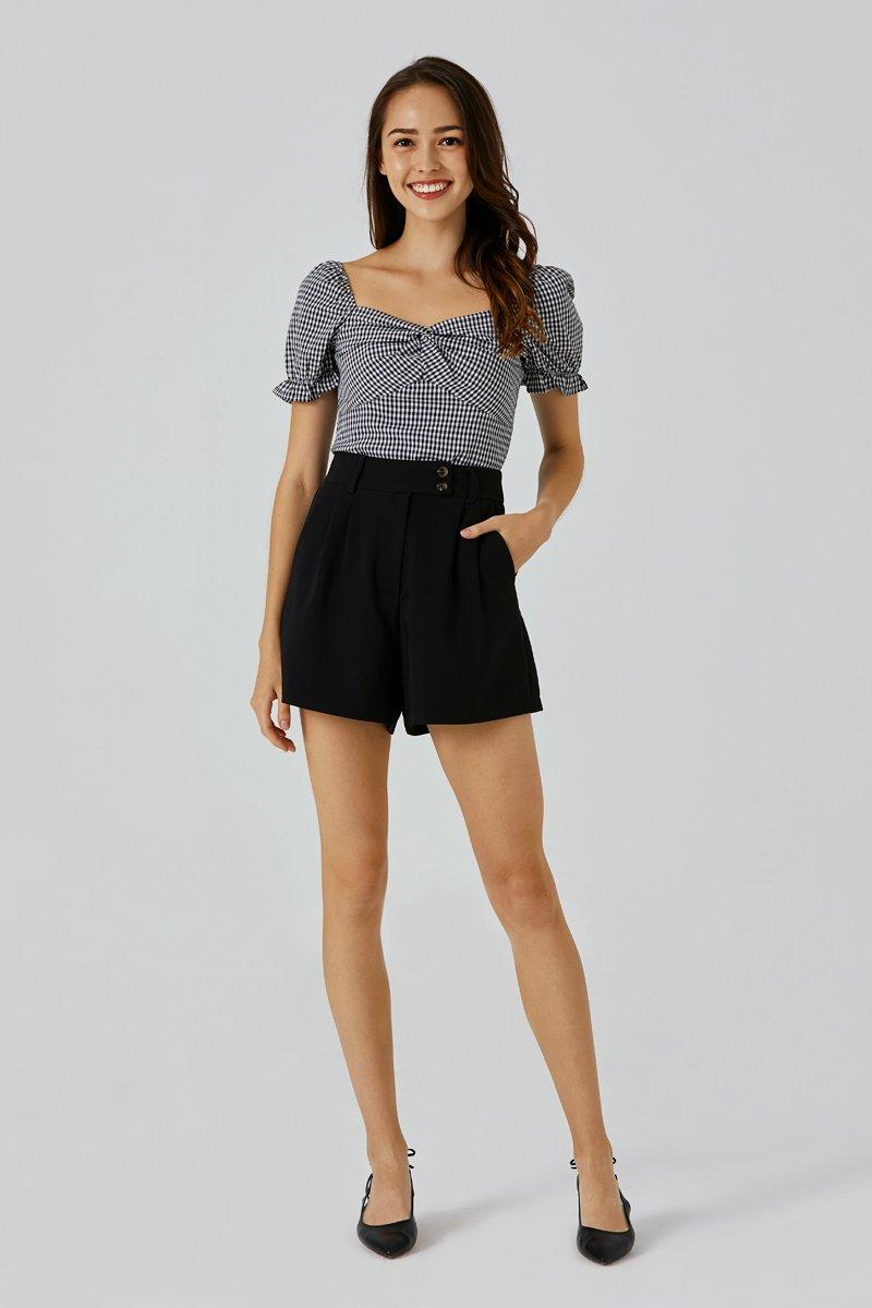 Callen Button Tailored Shorts Black