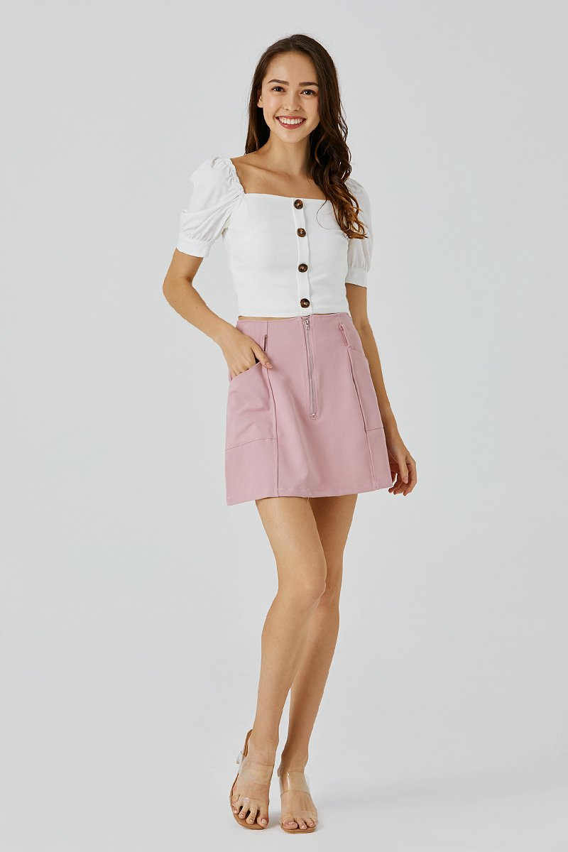 Alice Belted Skirt Blush