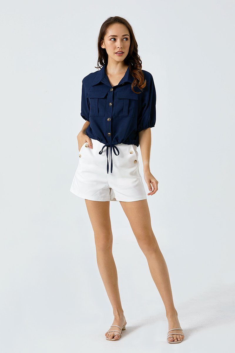Abigail Utility Button Up Shirt Midnight