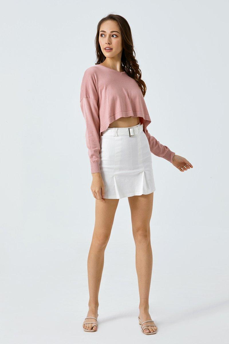 Tasha Cropped Knit Sweater Blush