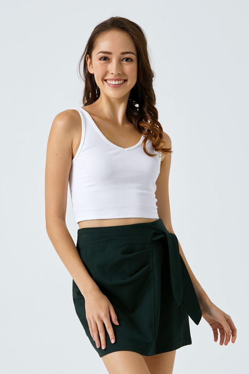 Blanche Front Tie Ruched Skirt Forest
