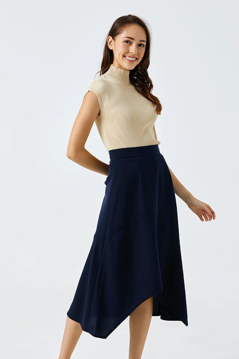 Charmaine Asymmetrical Midi Skirt Midnight