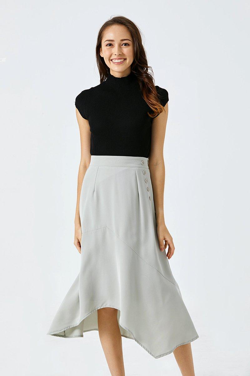 Charmaine Asymmetrical Midi Skirt Mint