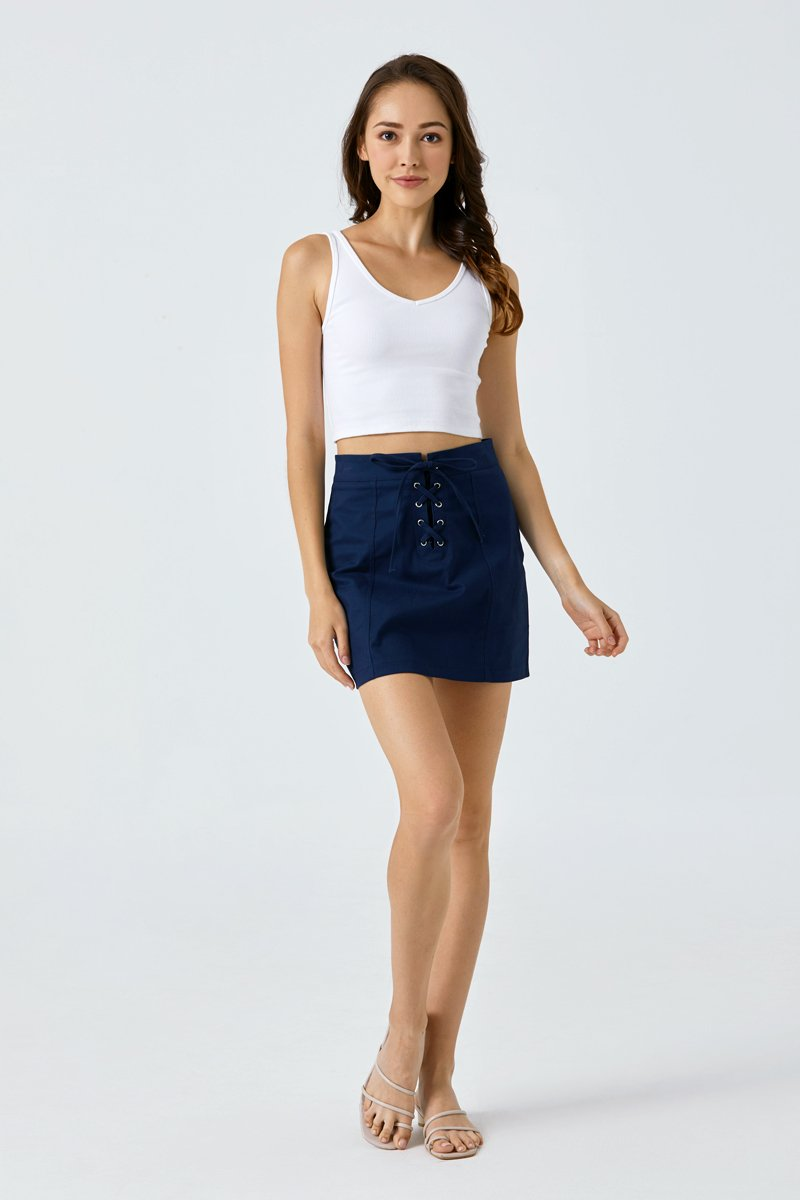 Noel Lace Up Skirt Midnight