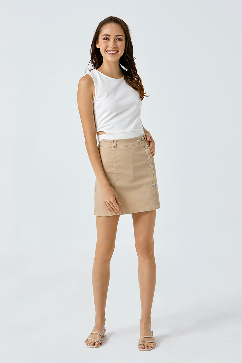 Rory Side Buttons Skirt Sand