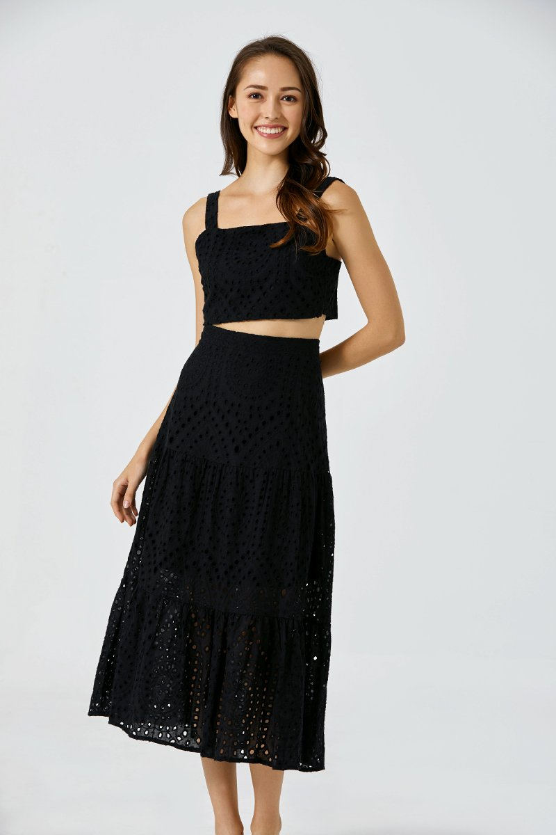 Claudia Eyelet Dress Set Black
