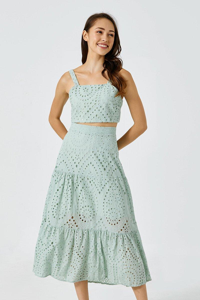 Claudia Eyelet Dress Set Mint