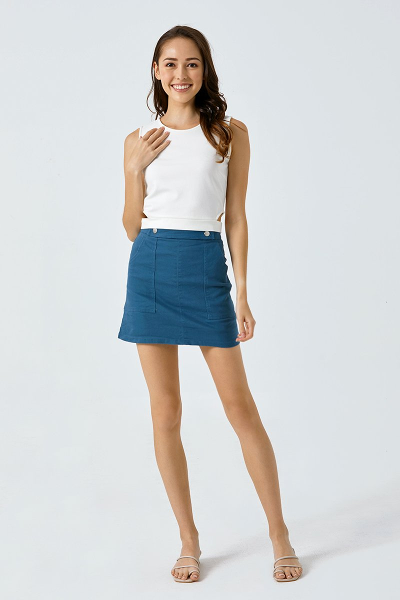 Sierra Sleeveless Cut-out Top Ivory