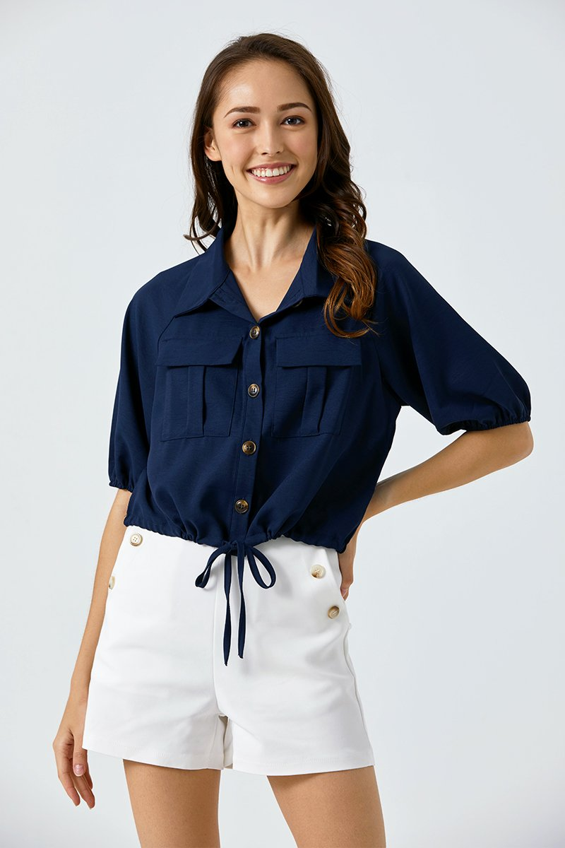 Abigail Utility Button Up Shirt Midnight