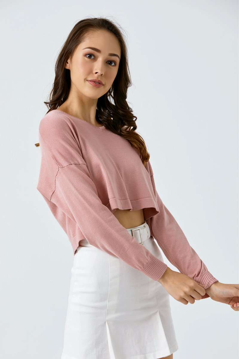 Tasha Cropped Knit Sweater Blush