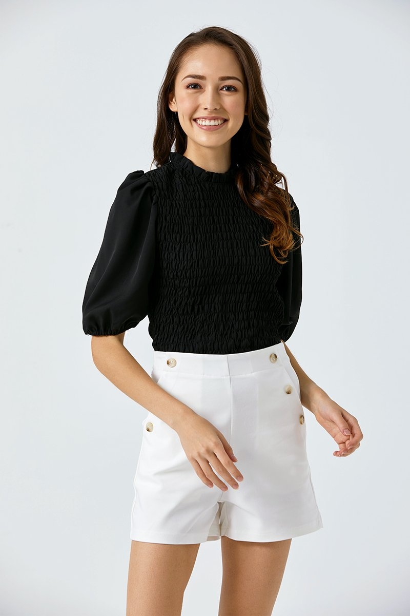 Aviva Mock Neck Top Black