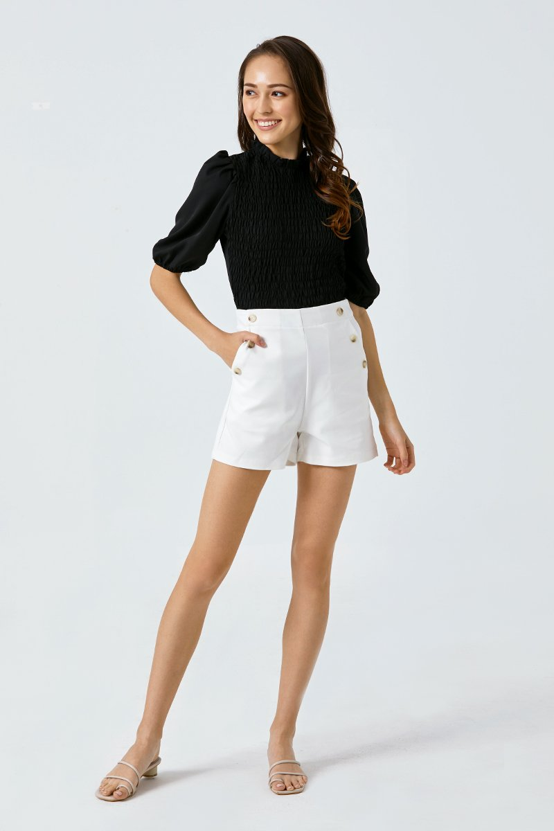 Evelyn Button High Waist Shorts Ivory