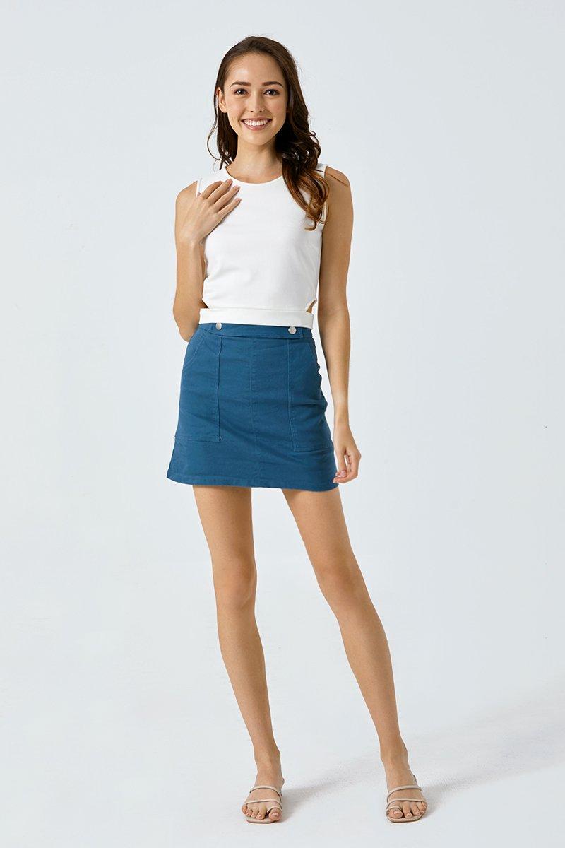 Darla Buttoned Front A-line Skirt Cobalt