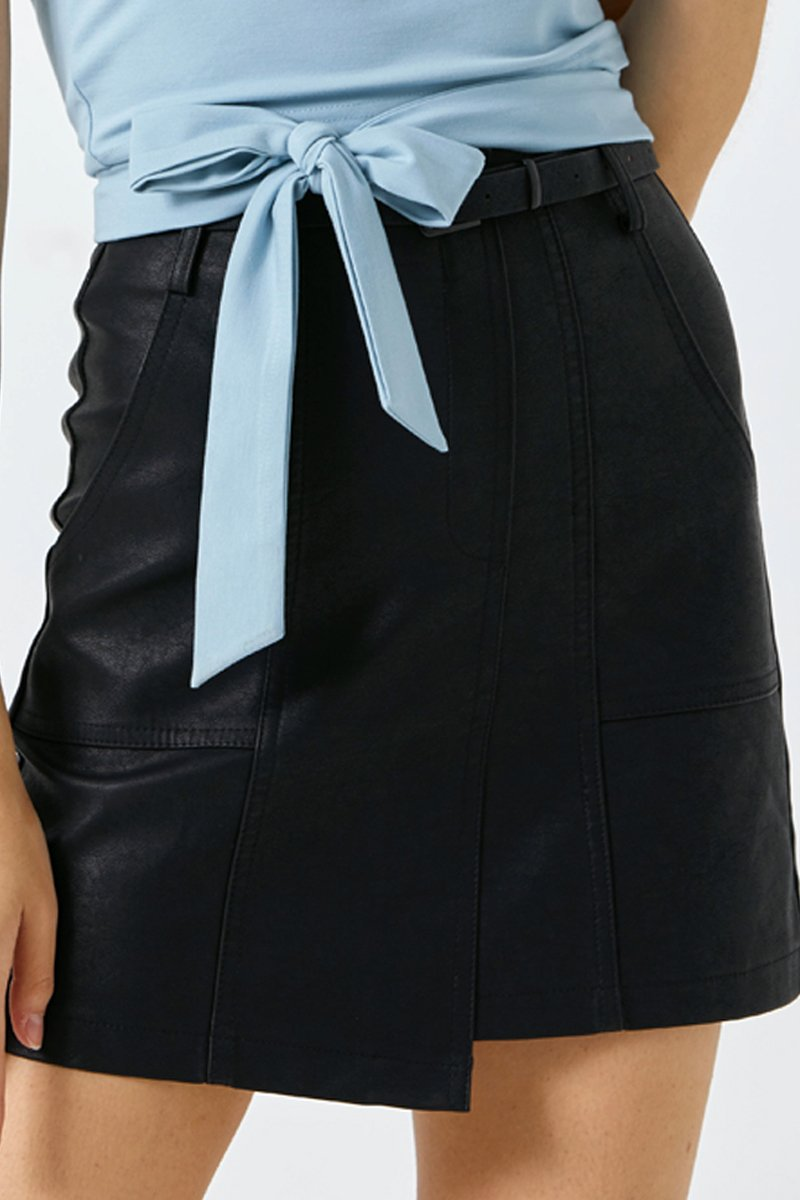 Candace Belted Leather Skirt Black