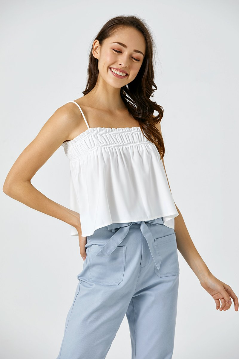 Cassie Flare Camisole Top Ivory
