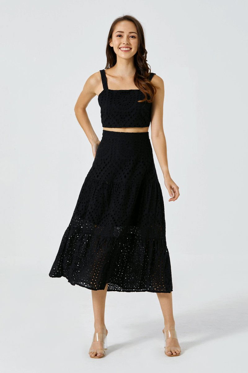 Claudia Eyelet Dress Set Black