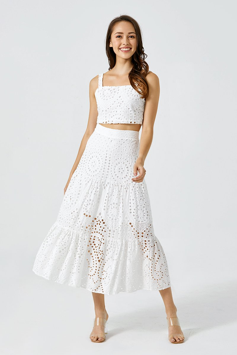 Claudia Eyelet Dress Set Ivory