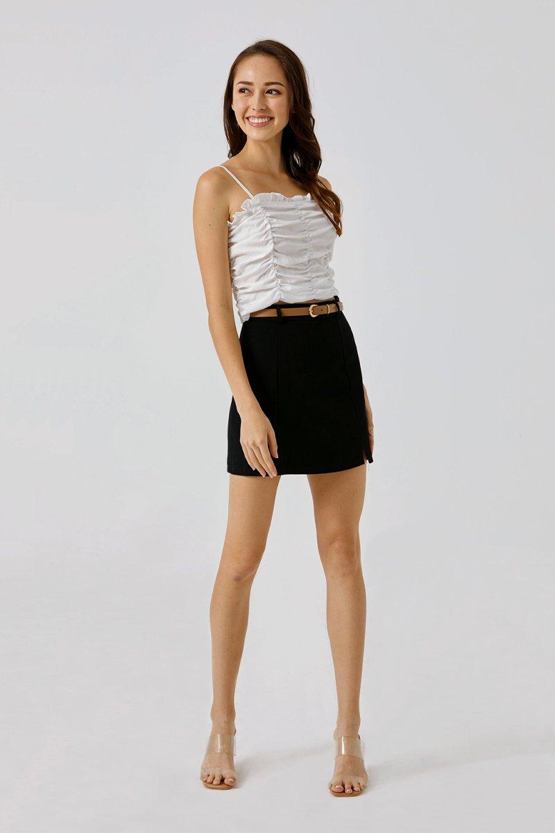 Irelia Belted A-Line Skirt Black