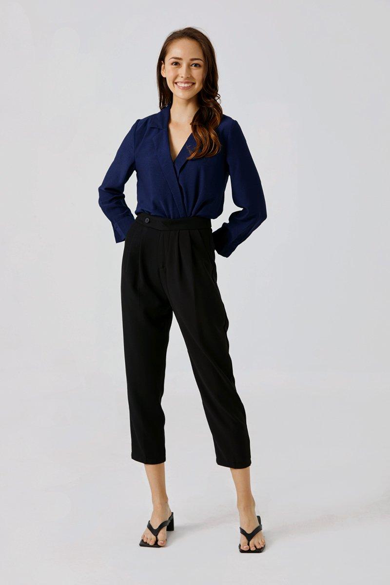 Richelle Tapered Straight-leg Pants Black
