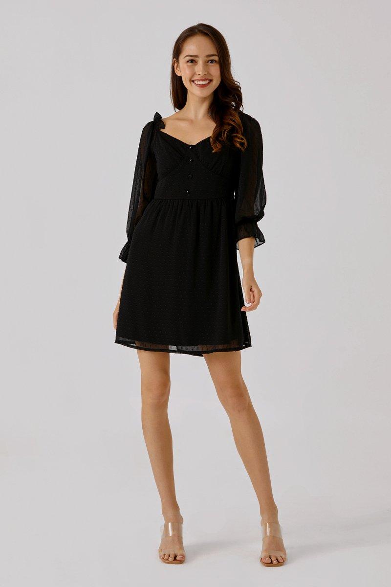 Kayana Swiss Dot Dress Black