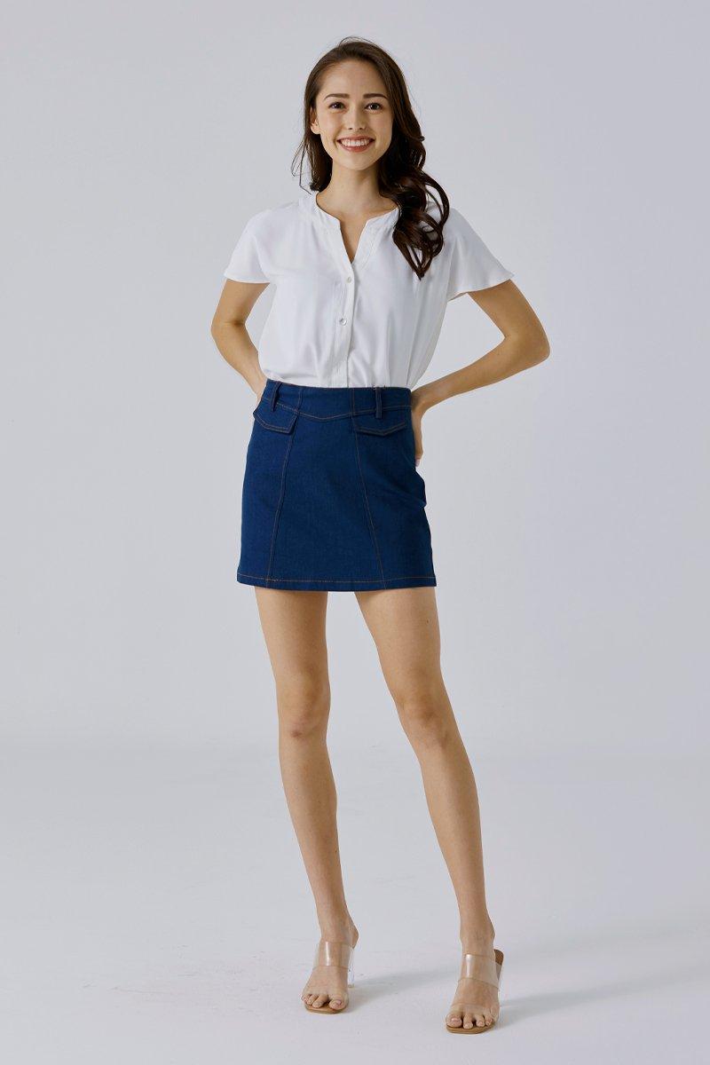 Vivian A Line Denim Skirt Dark Wash