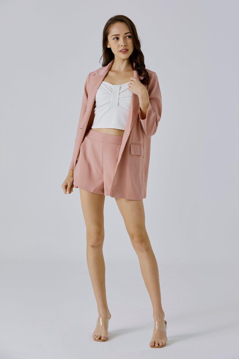 [BACKORDER] Eudora Blazer Shorts Set Blush