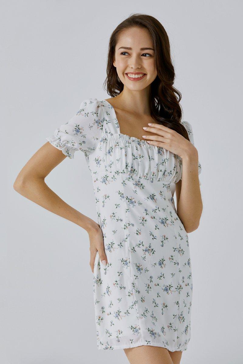 Breena Floral Puff Sleeve Dress Ivory