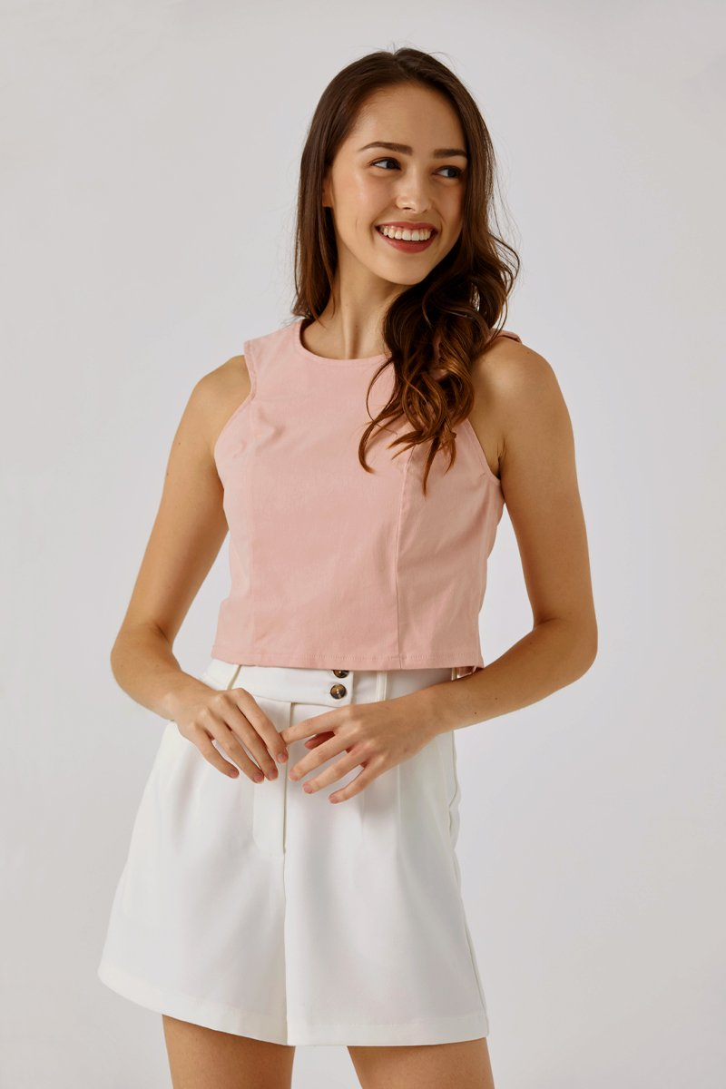Fiona Button Back Crop Top Blush