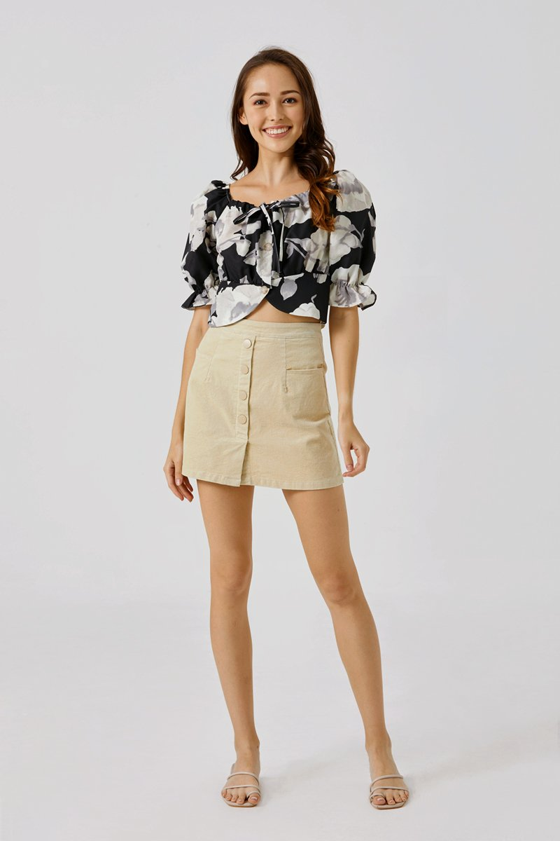 Astrid Button Down Skirt Sand