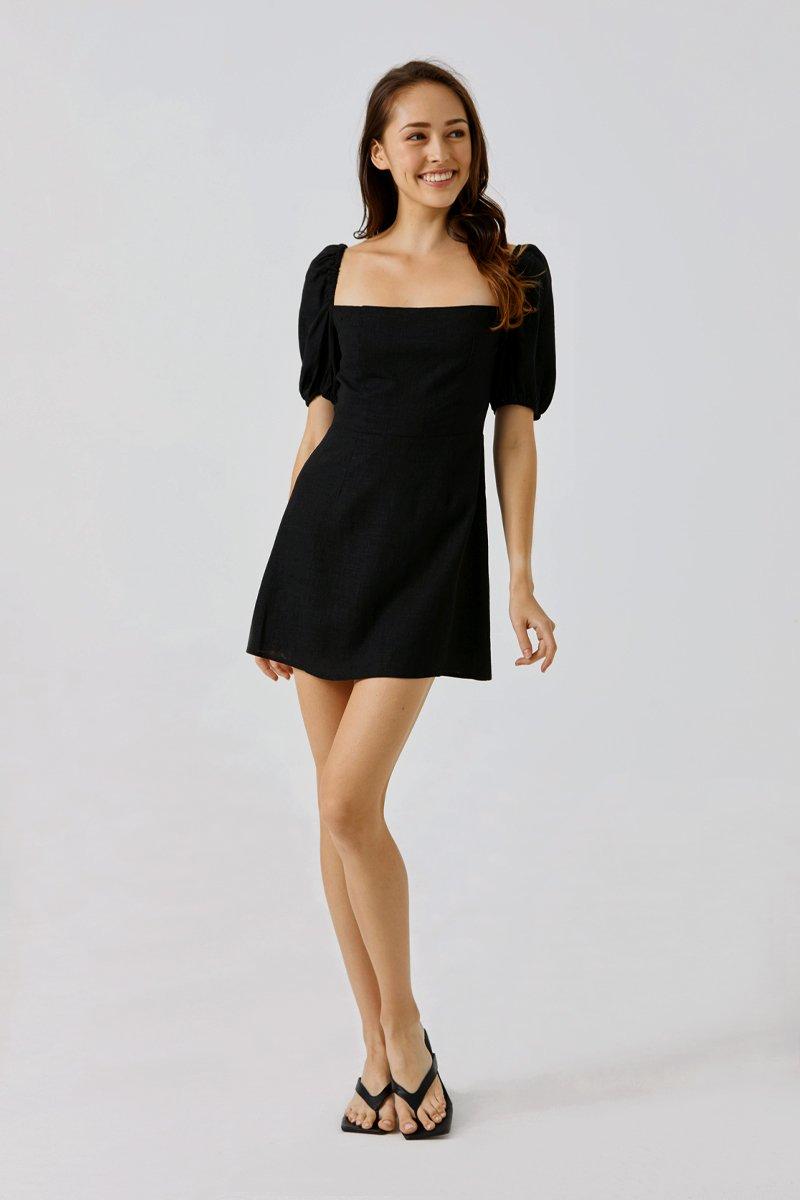 Shelia Puffed Sleeve Dress Black