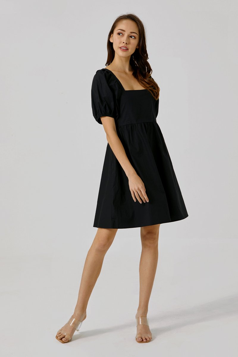 Shelly Puff Sleeve Dress Black