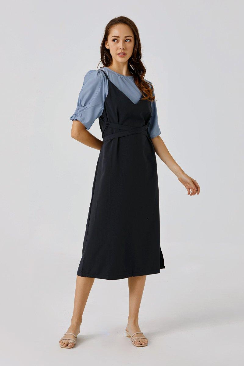 Anikka Pinafore Dress Cobalt