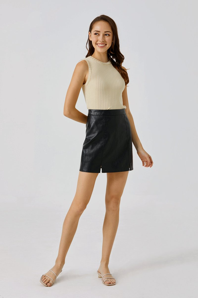 Cara A-Line Leather Skirt Black