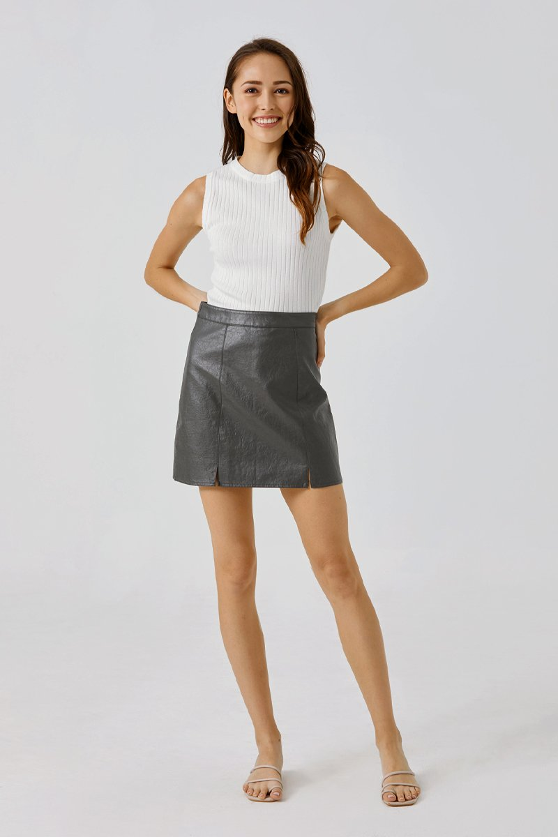 Cara A-Line Leather Skirt Grey