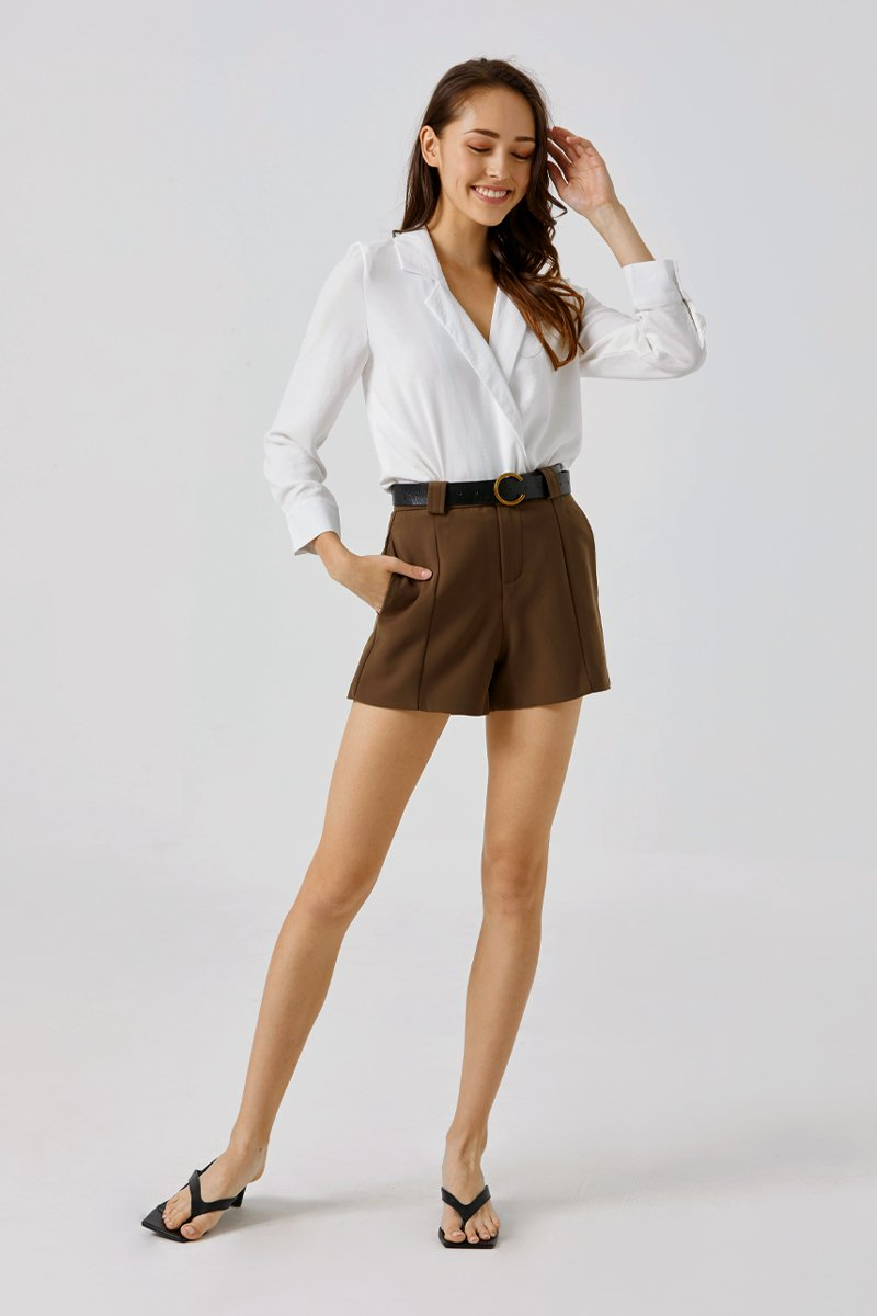 Trenice Belted Shorts Cocoa