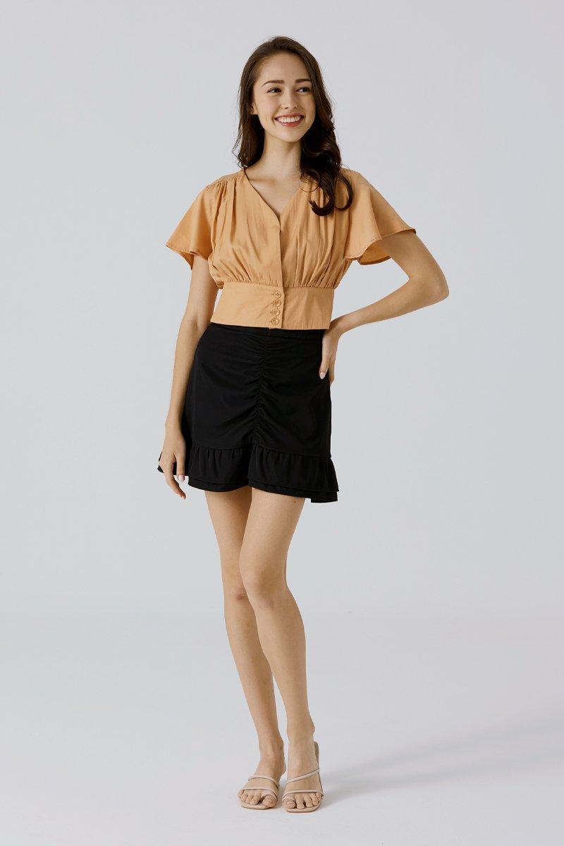 Tillia Ruched Ruffle Skirt Black