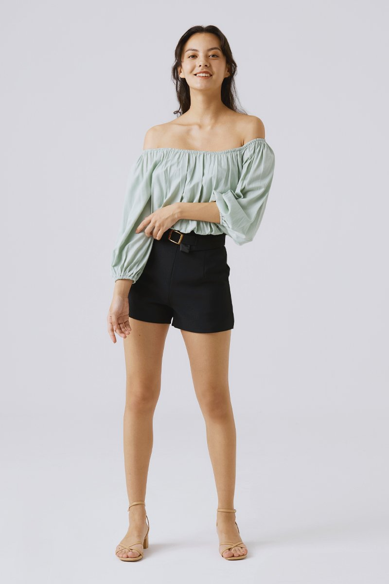Lucy Gathered Crop Top  Sage