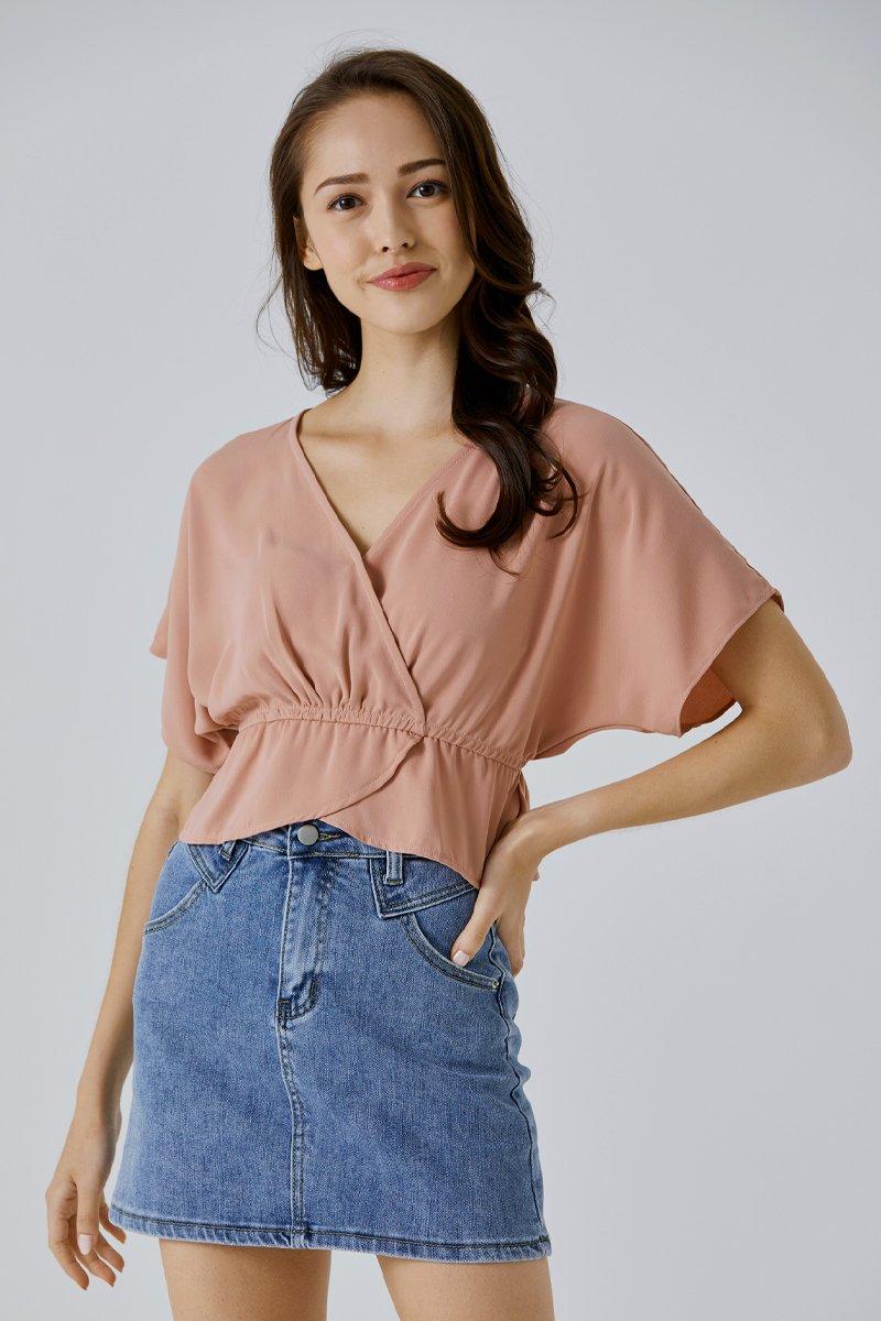 Clarine Flowy Peplum Top Blush