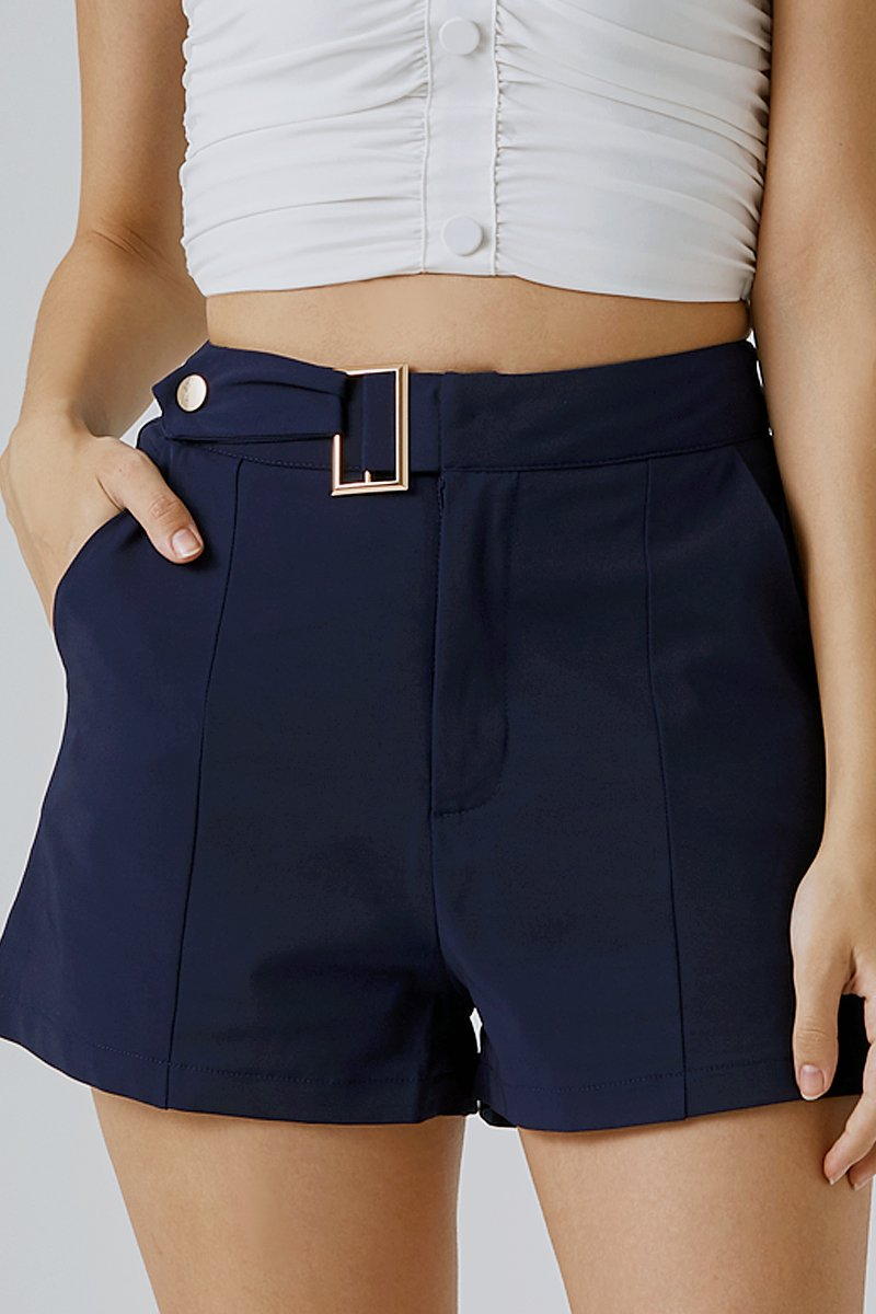 Jorgina Buckled Tailored Shorts Blue