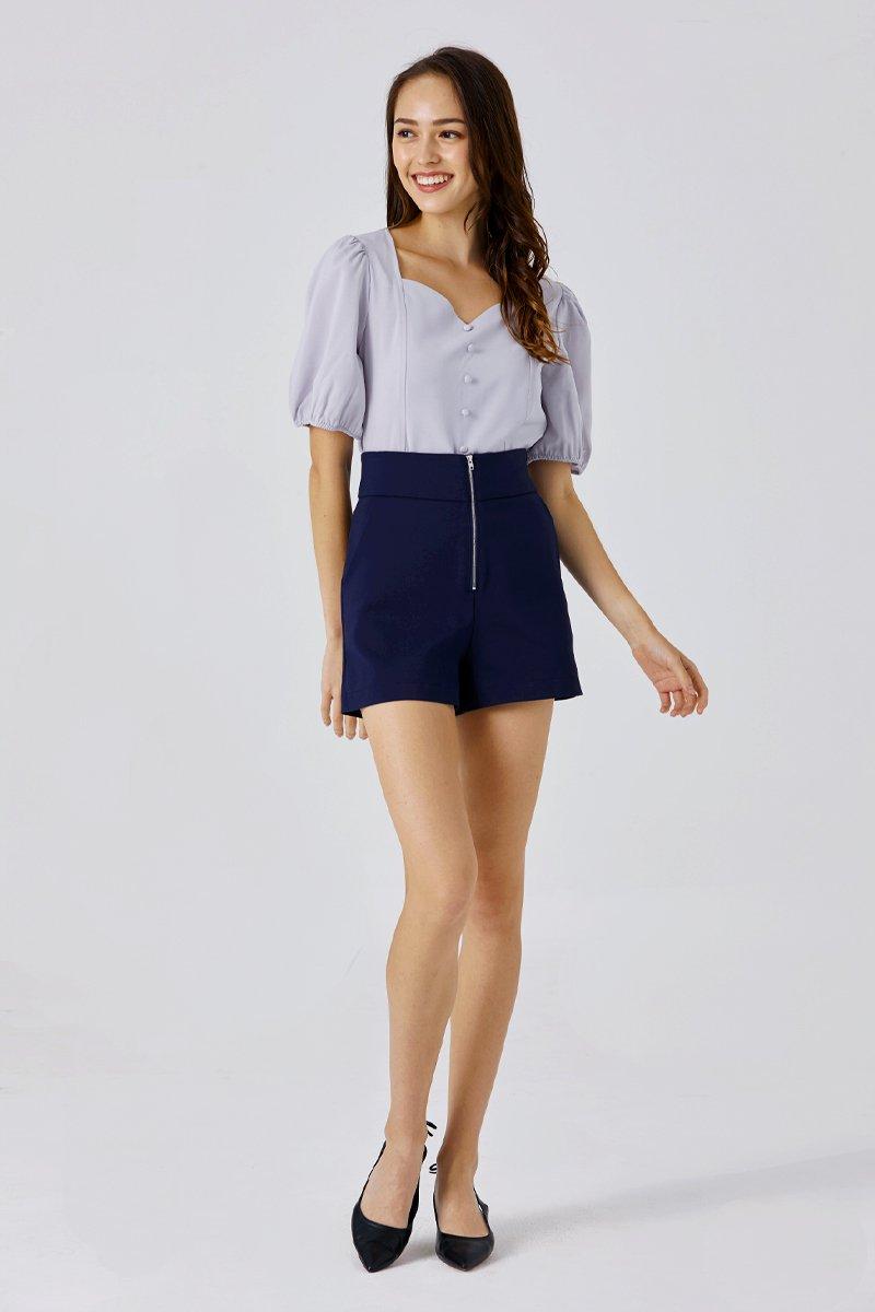 Selina Front Zip Shorts Midnight
