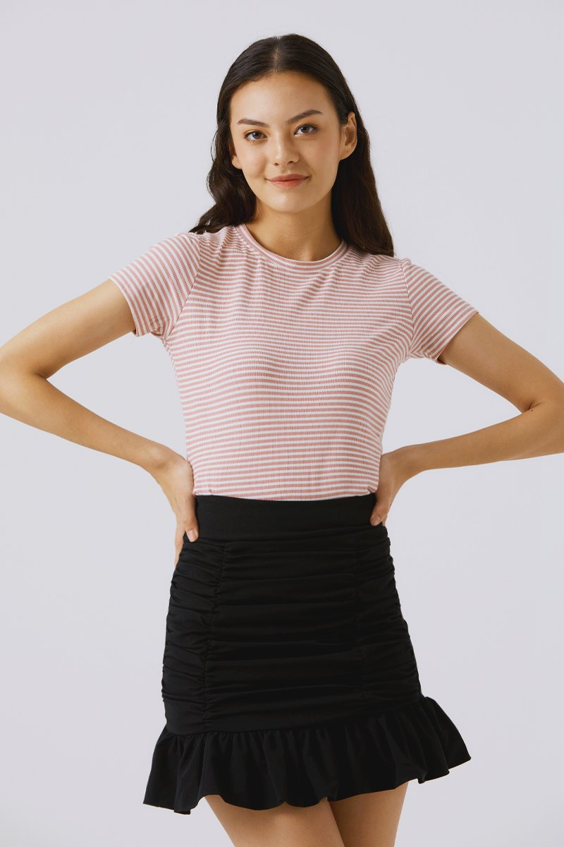 Fay Ruched Skirt Black
