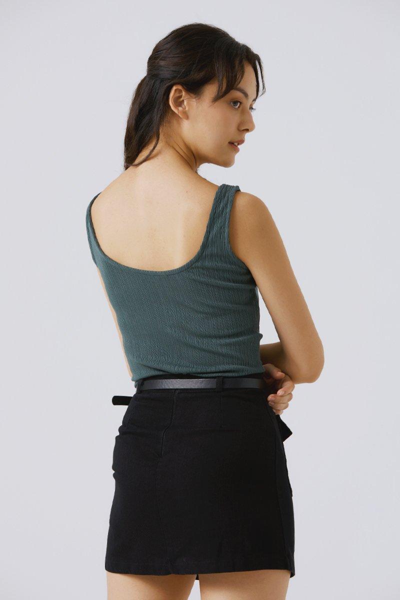 Elaine Belted A-line Skirt Black