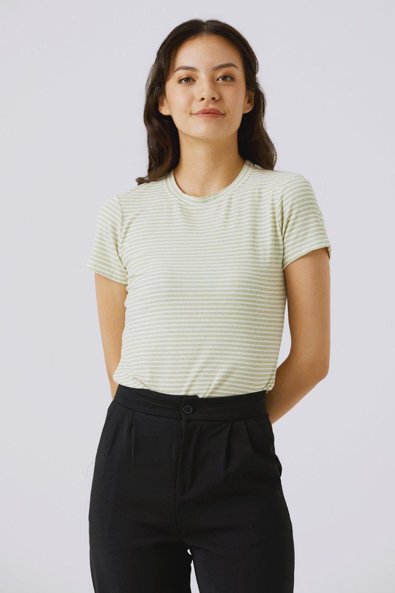 Jodynn Striped Knit Top Mint