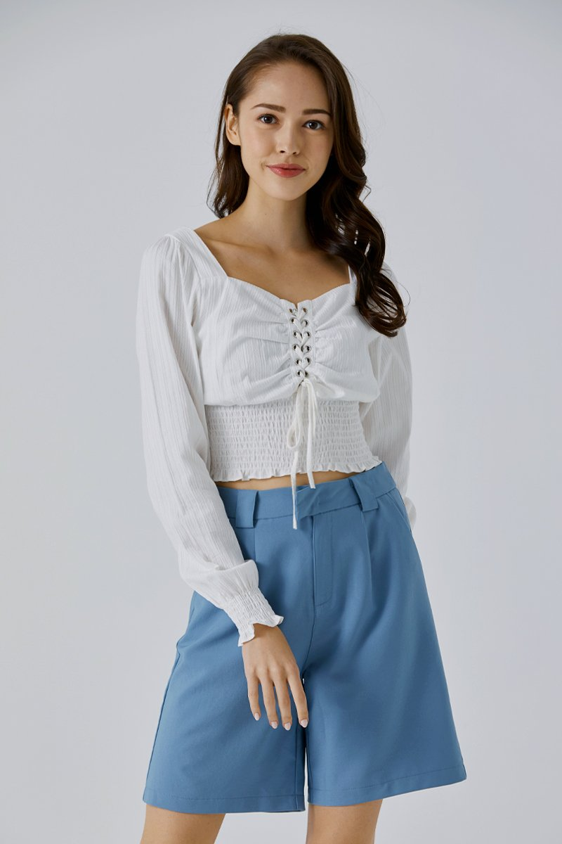 Lux Laced Crop Top Ivory