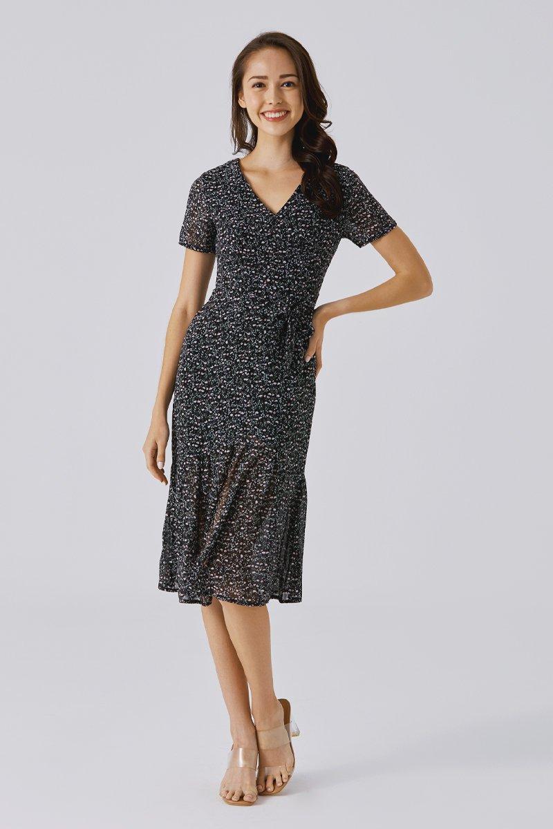 Renelia Floral Dress Black